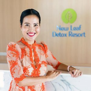 Photo of Air Page in the lobby of her wellness resort New Leaf Detox Wellness on Koh Samui Thailand.