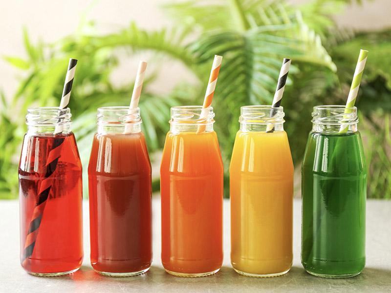 Bottles of fresh juice